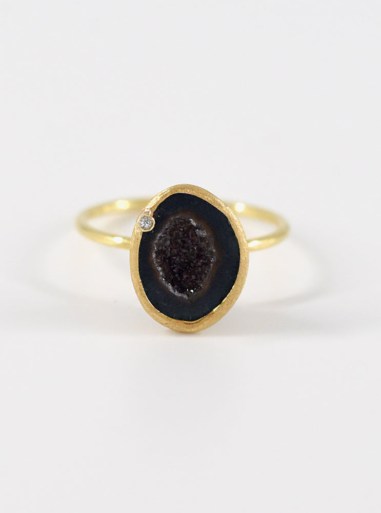18k Solid Gold Natural Geode Ring with Diamond