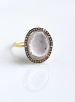 18K  White Gold Geode ring with Pave champagne color Diamond