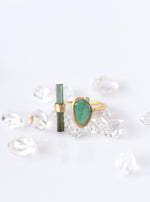 18K Solid Gold Natural Emerald with Tourmaline Bar Ring with Diamond