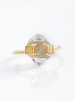 18K Gold Herkimer Diamond Ring with Diamond Slice