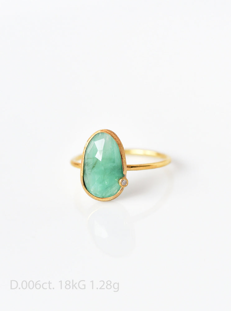18K Solid Gold Natural Emerald Ring with Diamond