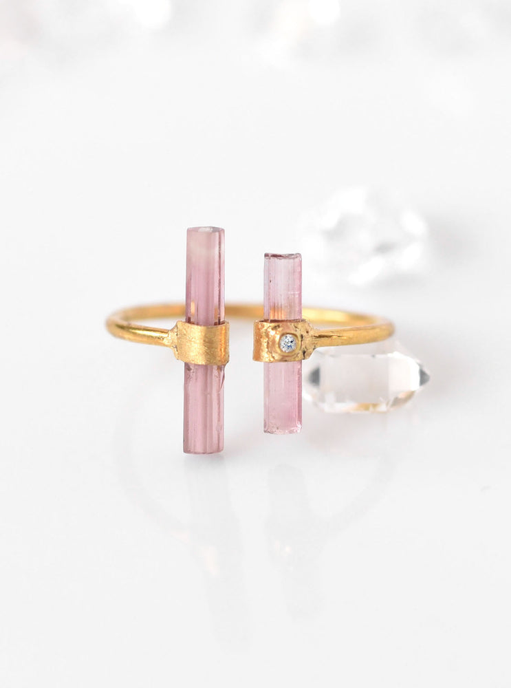 18k Solid Gold Double Pink Tourmaline Ring with Diamond