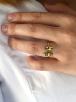 18K Solid Gold Double Tourmaline Ring with Diamond