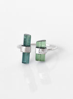 18K Solid White Gold Double Tourmaline ring with Diamond