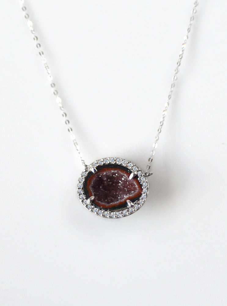 18k White Gold Geode Necklace with Diamond