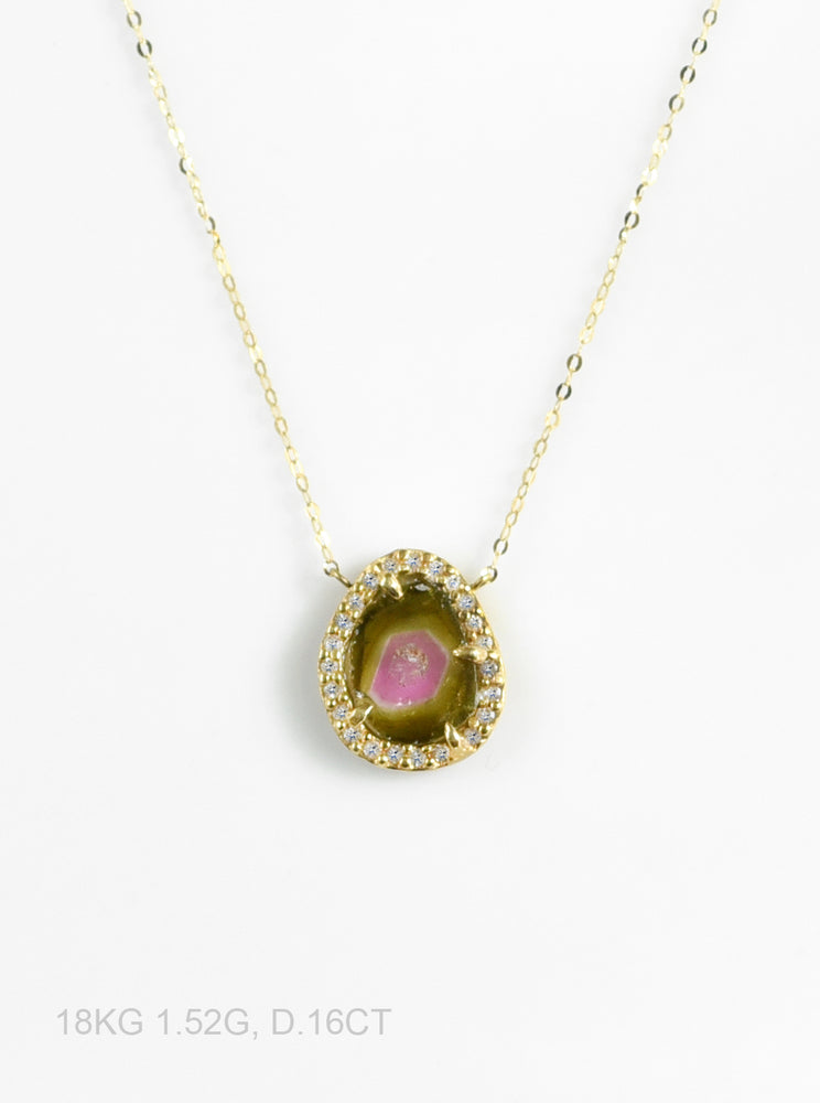 18K Solid Gold Watermelon Tourmaline Necklace with Diamond
