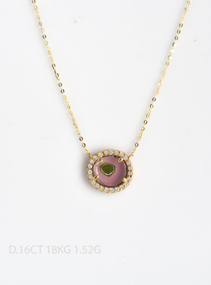 18K Solid Gold Tourmaline Necklace with Diamond