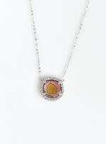 18k White Gold Tourmaline Necklace with Diamond