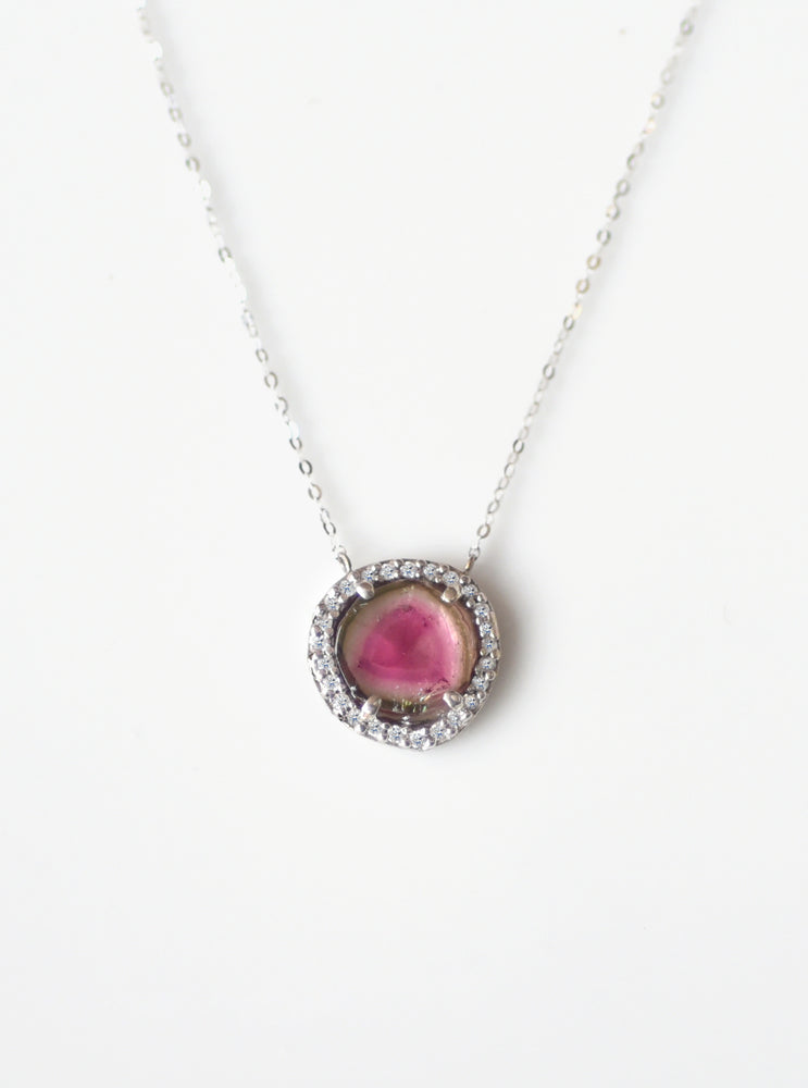 18K Solid White Gold Watermelon Tourmaline Necklace with Diamond