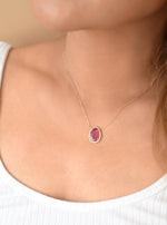 18K Solid Gold Natural Ruby Necklace with Diamond
