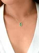 18K Solid Gold Natural Emerald Necklace with Diamond