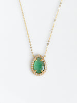 18k Gold Teardrop Shape Emerald Necklace with Diamond