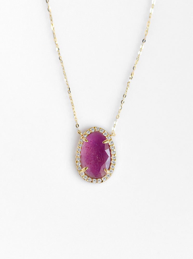 18k Gold Natural Ruby Necklace with Diamond