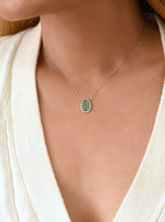 18k Solid White Gold Emerald Necklace with Diamond