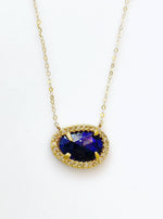 18k Solid Gold Hand Crafted Blue Opal Necklace Set with Diamond