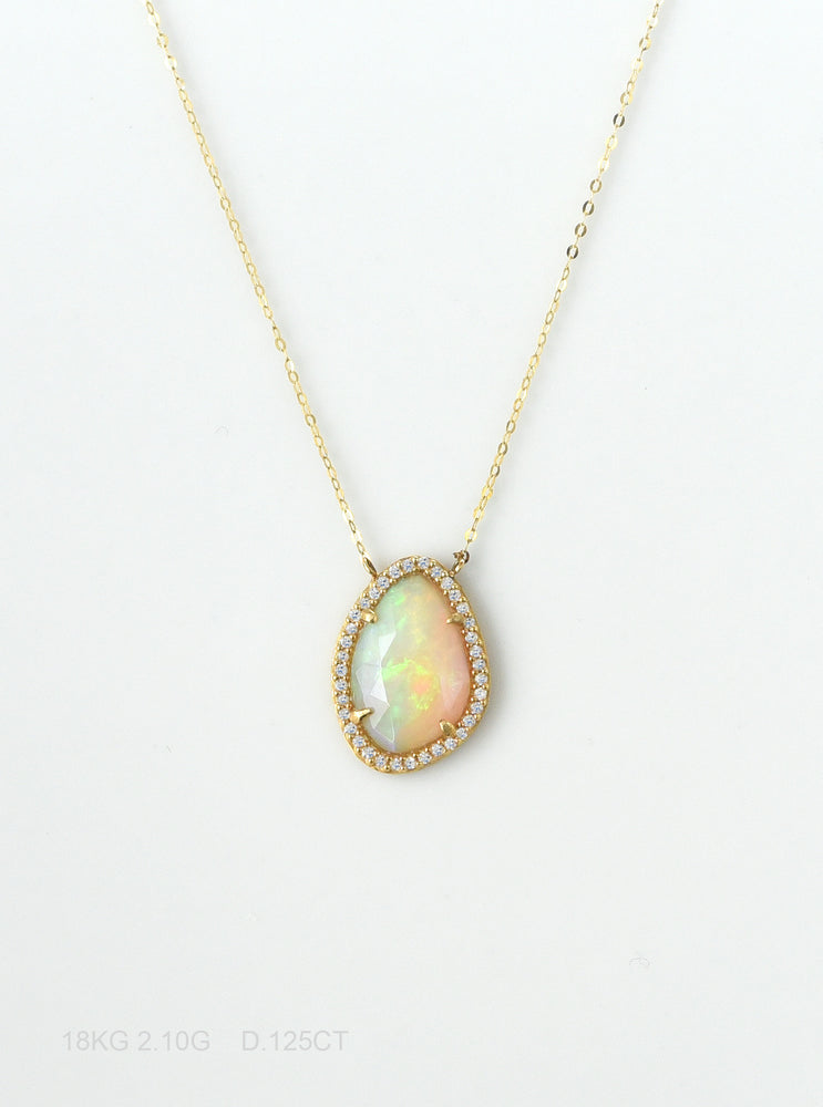 18K Solid Gold Gold Rainbow Opal Necklace with Diamond
