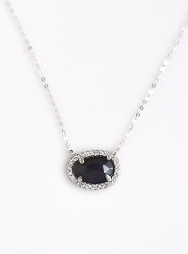 18K White Gold Blue Opal Necklace with Diamond