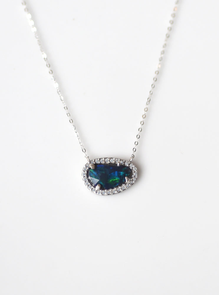 18K Solid White Gold Rainbow Blue Opal Necklace with Diamond
