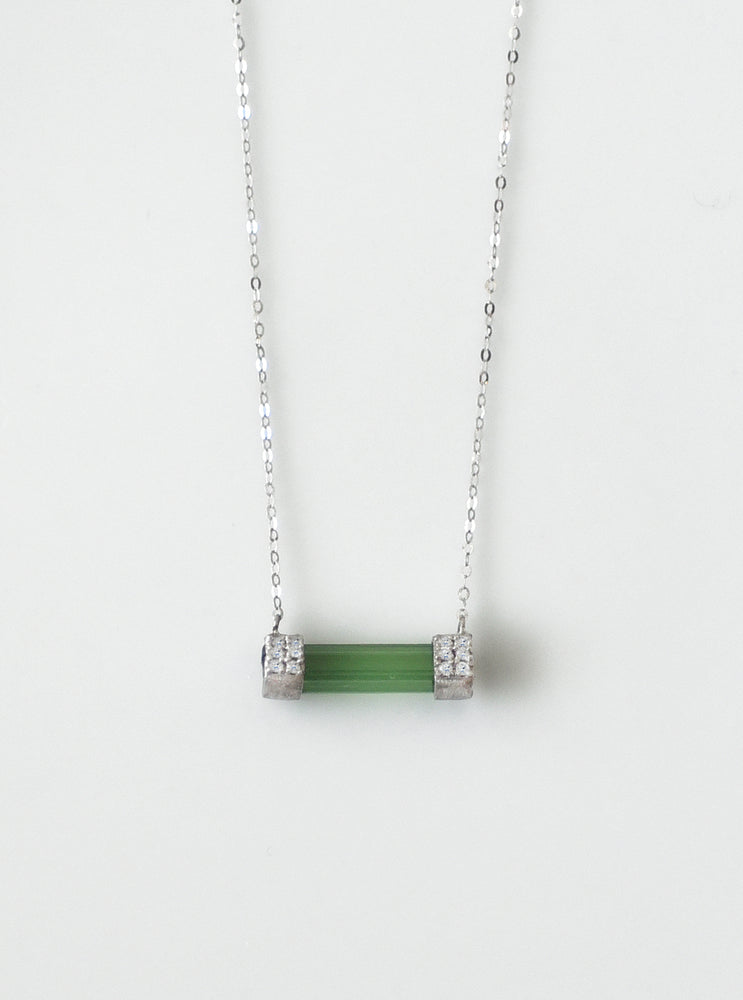 18K White Gold Green Tourmaline Necklace with Diamond