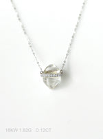 18k Solid White Gold Herkimer Diamond Necklace