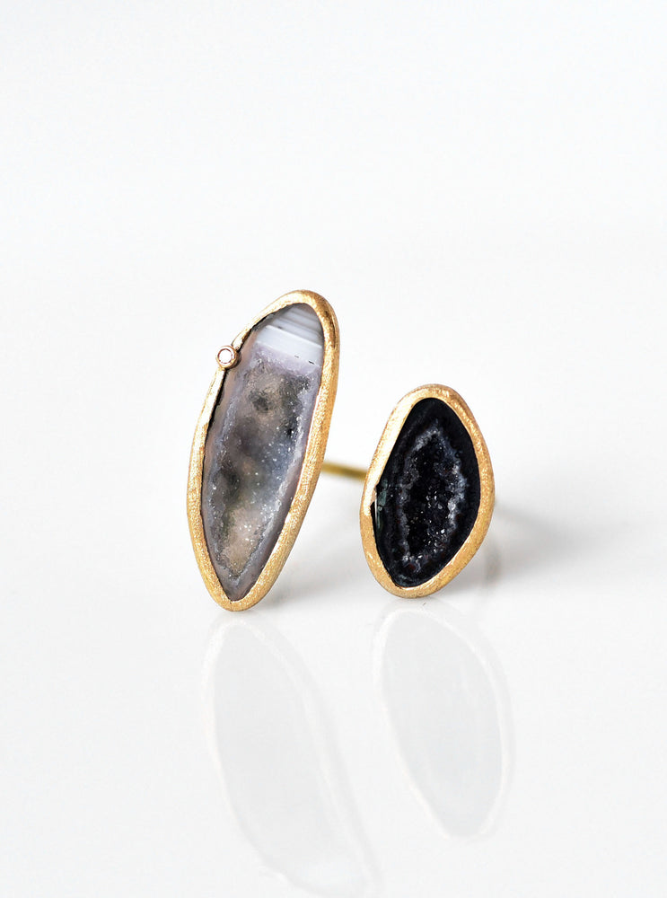 Hand Crafted 18k Gold Double Geode Ring with Diamond