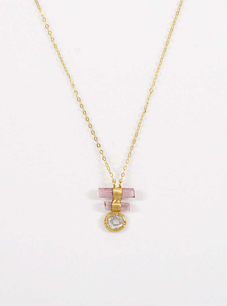 18K Tourmaline Necklace with Diamond Slice