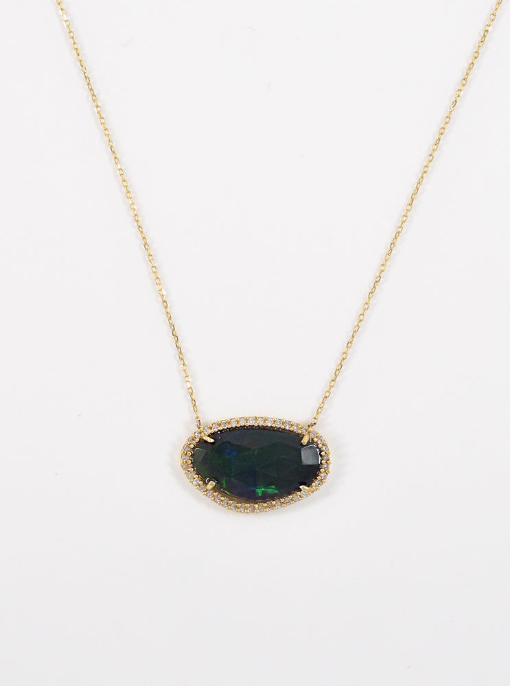 18k Gold and Diamond Blue Opal Necklace
