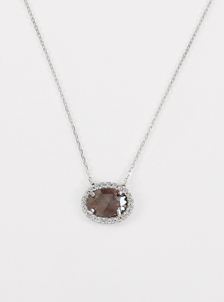 18K Solid White Gold Natural Salt And Pepper Diamond Necklace