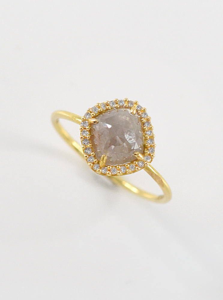 18K Solid Gold Natural Salt And Pepper Diamond Ring