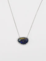18k White Gold and Diamond Blue Opal Necklace