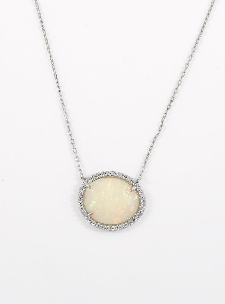 18k White Gold and Diamond Opal Necklace