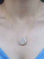 Teardrop Gemstone with CZ Necklace