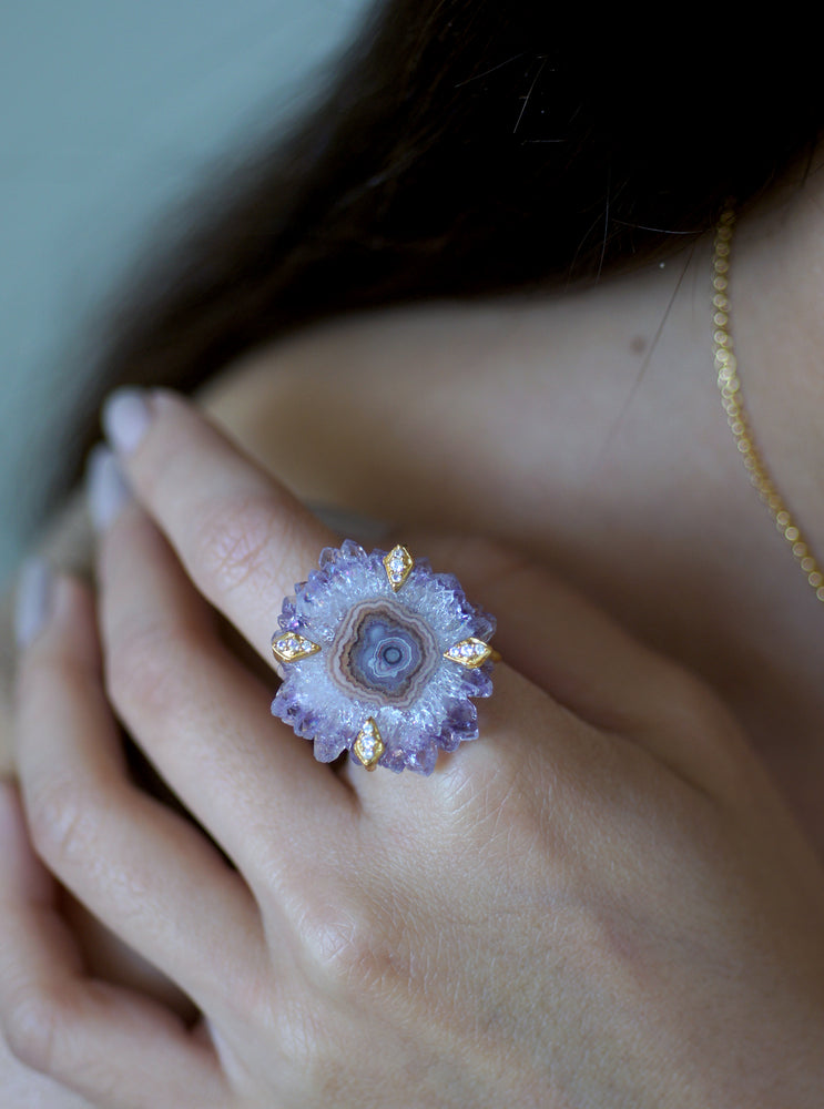 Size 5 Amethyst Stalactite Flower Ring in Gold