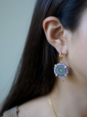 Amethyst Stalactite Flower Hoop Earrings **