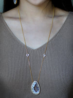 Open Agate Slice and Quartz Necklace