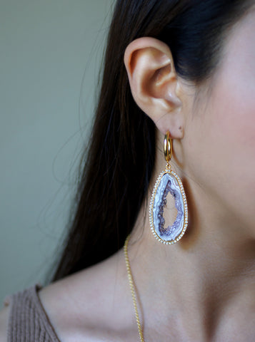Related product : CZ Open Agate Slice Earrings **
