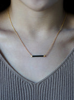 Tourmaline Horizontal Bar Necklace