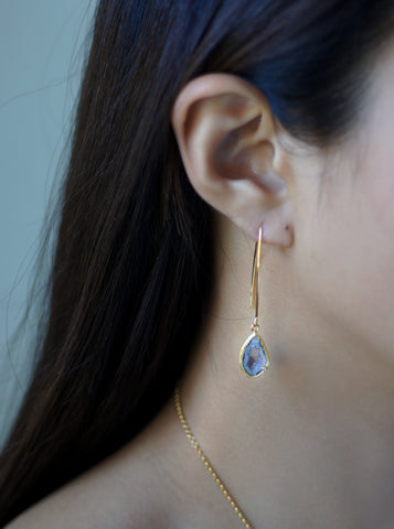 Related product : Geode With Diamond Fish Hook Long Earrings