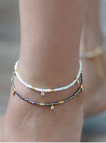 Gemstone and CZ Ankle Bracelet