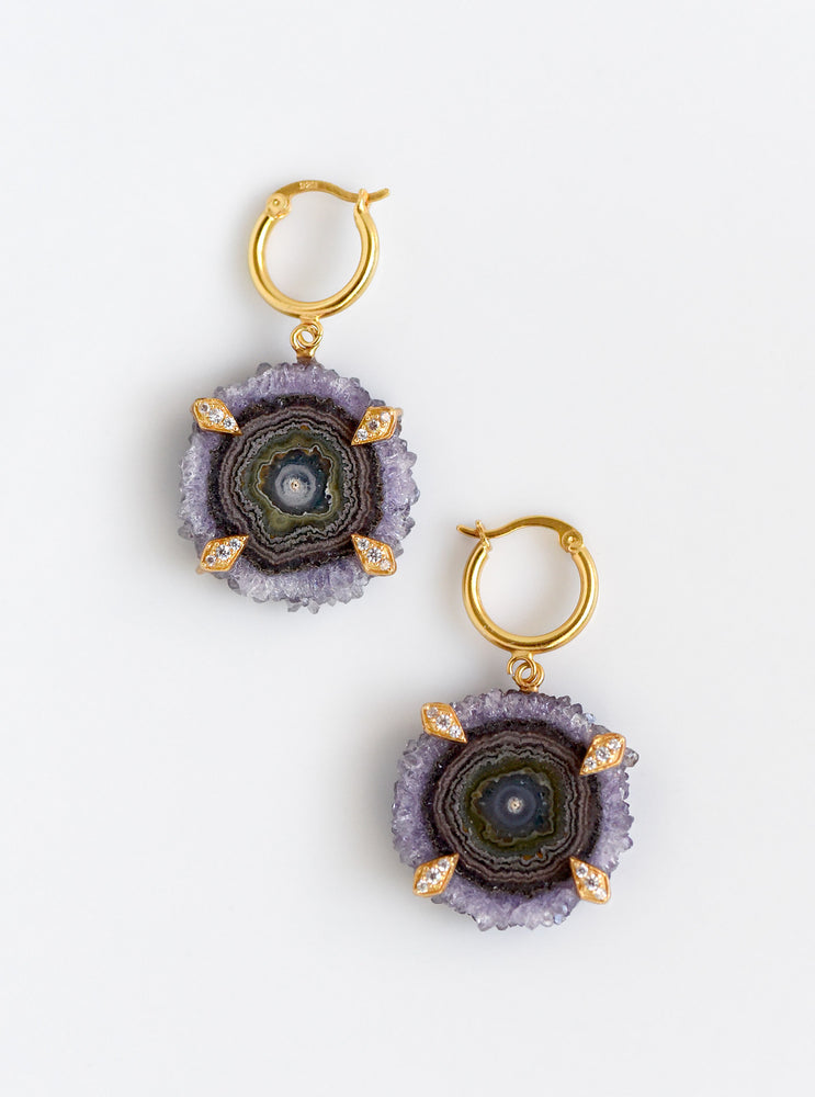 Amethyst Stalactite Flower Hoop Earrings