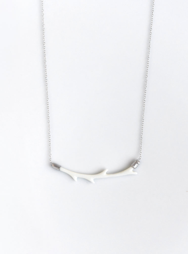 Carved Bone Branch Horizontal Bar Necklace
