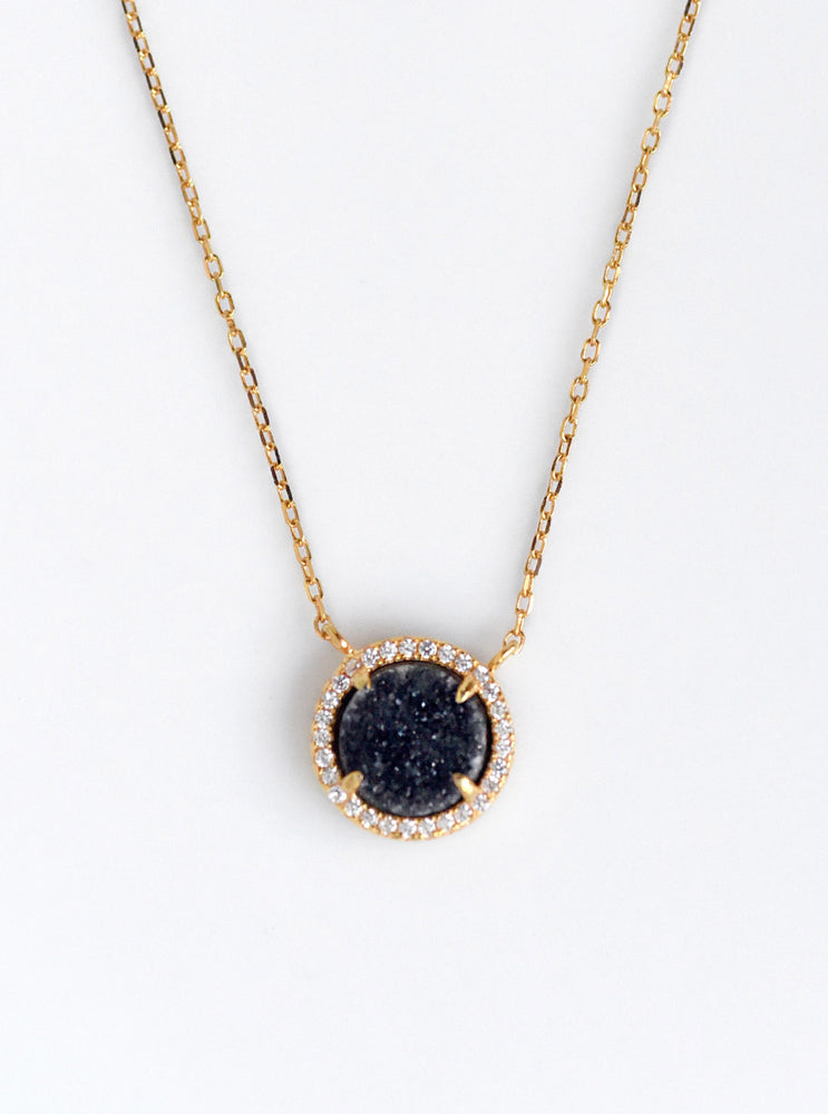 Glitter Druzy Mini Round Necklace