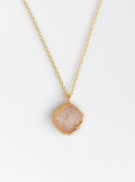 Shining Druzy Small Cushion Genuine Diamond Necklace