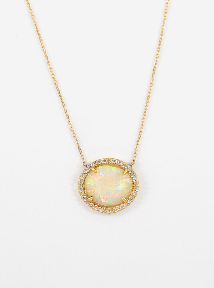 18k Gold and Diamond Opal Necklace