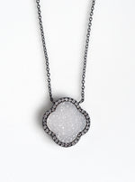 Glitter Druzy Flower Necklace