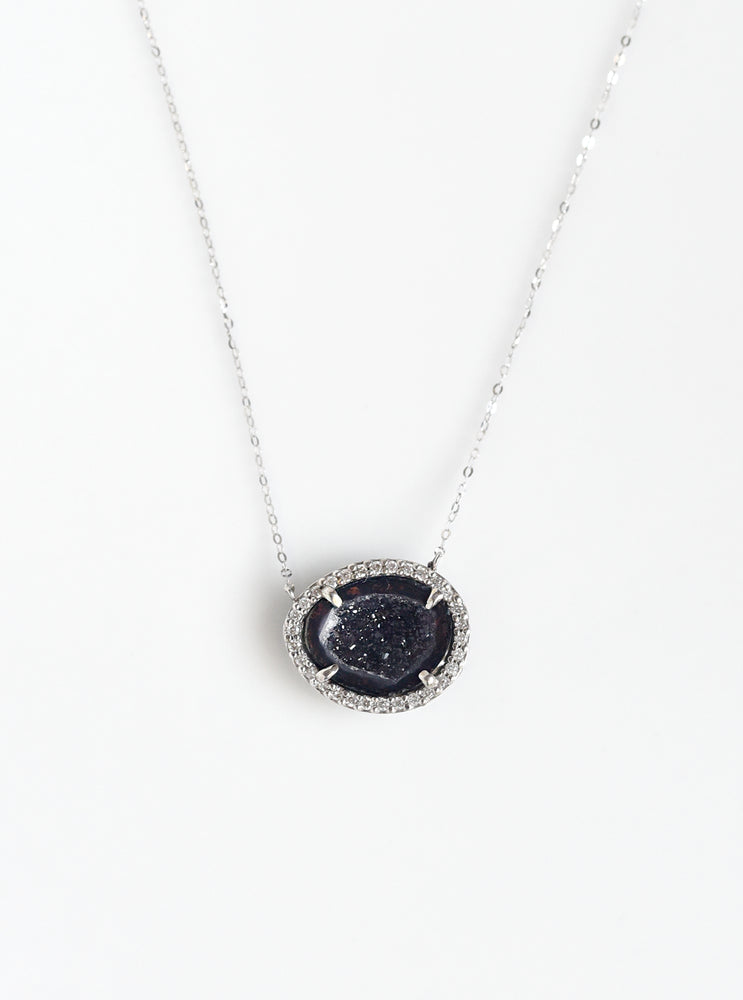 18K Solid White Gold Geode Necklace with Diamond