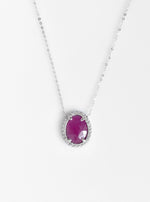 18K White Gold Natural Ruby Necklace with Diamond