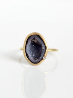 18K Solid Gold Tabasco Geode Ring with Diamond