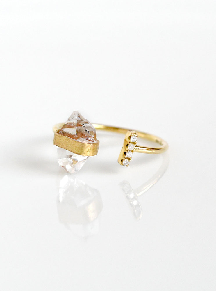18K Solid Gold Herkimer Diamond Ring with Natural Diamond