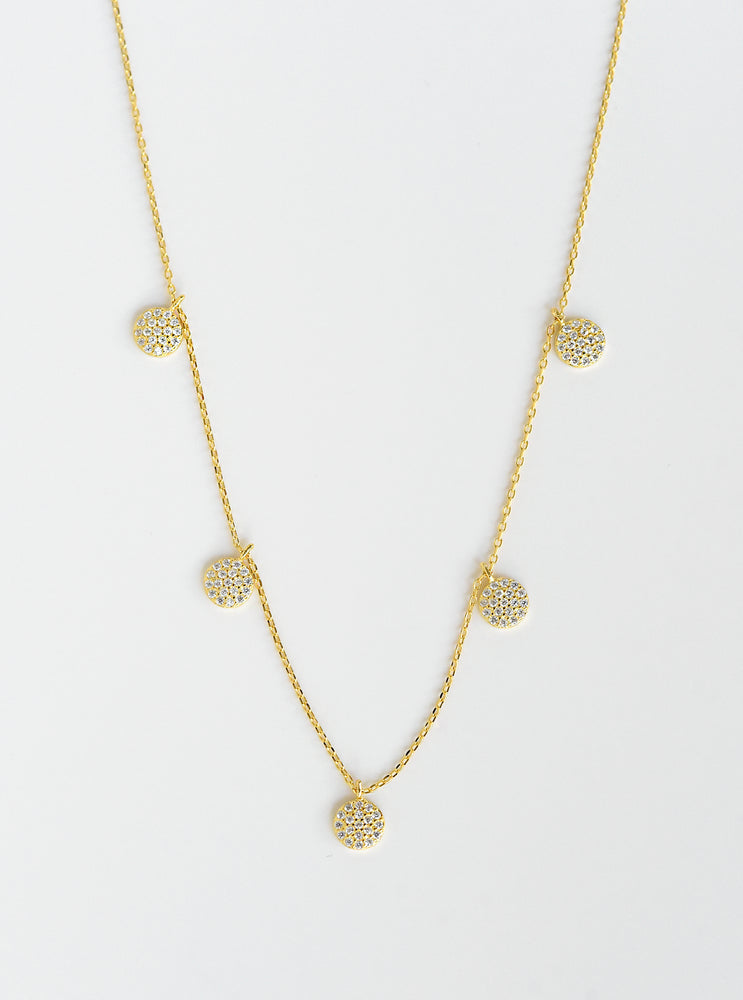 5 Mini CZ Disk Necklace